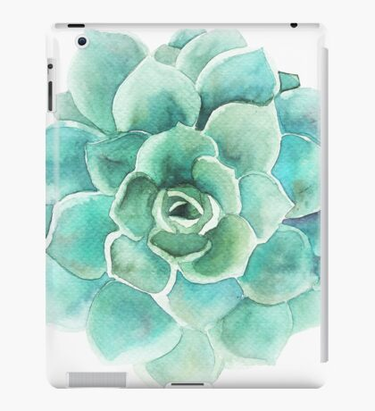 Blue-Green Succulent Watercolors Illustration iPad Case/Skin