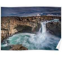 Majestic Iceland waterfall Poster