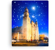 The Stars Shine Down On Historic Merida Cathedral - Mexico Canvas Print
