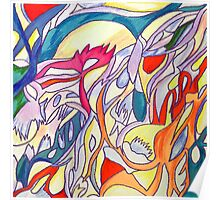 abstract color pencil stroke Poster