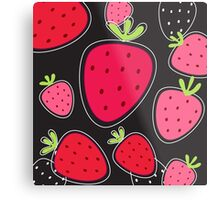 New stylish design : black and red Strawberry Metal Print