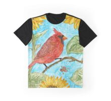 Carinal Bird and Sunflowers Watercolor Painting  Graphic T-Shirt