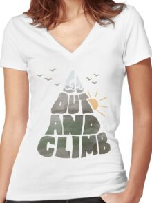Go out and Climb Women's Fitted V-Neck T-Shirt