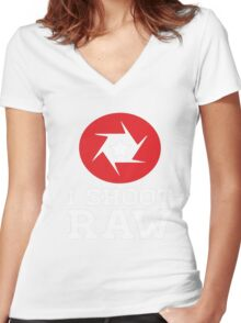 I Shoot RAW - Funny Photography Photographer Gift T-Shirt Women's Fitted V-Neck T-Shirt