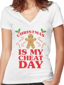Christmas Is My Cheat Day Women's Fitted V-Neck T-Shirt