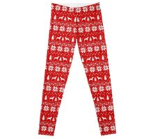 German Shorthaired Pointer Silhouettes Christmas Sweater Pattern Leggings