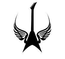 Cool Rock Electric Guitar Wings Music Photographic Print