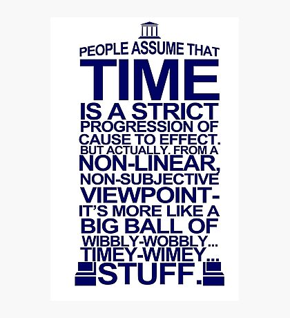 DOCTOR WHO TYPOGRAPHY T Shirt Doc Dr BBC Tardis Time Dalek New Tenth Timey Wimey Photographic Print