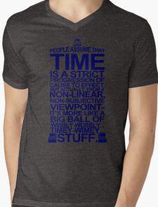 DOCTOR WHO TYPOGRAPHY T Shirt Doc Dr BBC Tardis Time Dalek New Tenth Timey Wimey Mens V-Neck T-Shirt