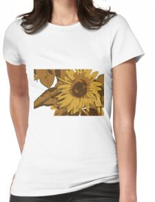Sunflower cartoon Womens Fitted T-Shirt