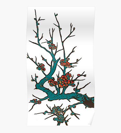 Sakura branch.Branch of a blossoming cherry Poster