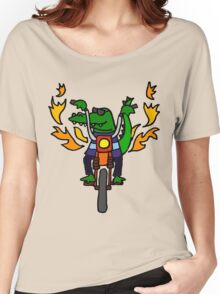 Cool Funny Alligator is Riding Motorcycle Women's Relaxed Fit T-Shirt
