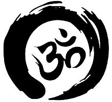 OM sign and symbol.Black and white symbol Photographic Print