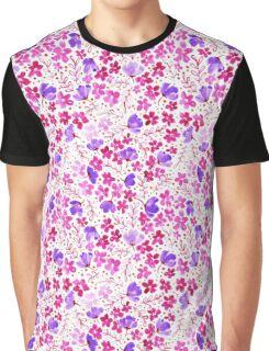 Love Blossoms - Watercolour Flower Pattern on White Graphic T-Shirt