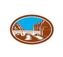 Trinity College Bridge Cambridge Woodcut by patrimonio