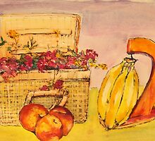 Basket Bananas Bougainvillea and Peaches by christine purtle