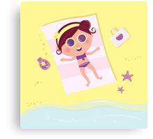 Summer & vacation: babe sunbathing on beach Canvas Print