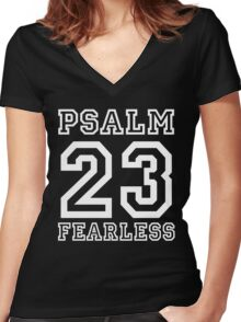 Psalm 23 T-Shirt Twenty Three Colors Sports Jersey Style Christian Faith Gift For Men & Women Women's Fitted V-Neck T-Shirt