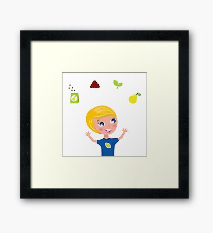 Happy blond boy with seeds and pear / bio bio Framed Print