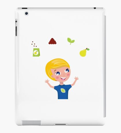 Happy blond boy with seeds and pear / bio bio iPad Case/Skin