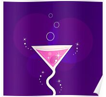 Fresh Martini party cocktail glass : purple and pink Poster