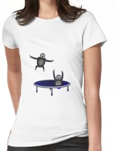 trampolining sloths Womens Fitted T-Shirt