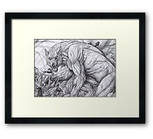 Werewolf - The deerkiller (bw) Framed Print