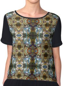 Blue Gold Psychedelic Abstract Portal Chiffon Top