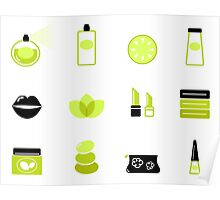 New in shop : Cosmetics spa icons. Green, black Poster
