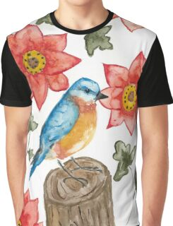 Eastern Blue Bird Watercolor Painting  Graphic T-Shirt