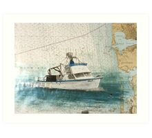ELLY Crab Fishing Boat Cathy Peek Nautical Chart Map Art Print