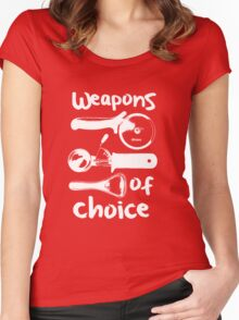Weapons of choice - Full Set - White Women's Fitted Scoop T-Shirt
