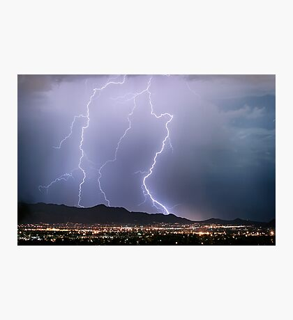 Fantastic Lightning Show Over City Lights Photographic Print