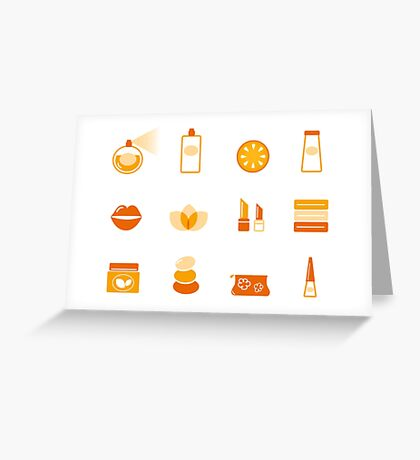 Collection of stylized cosmetic and wellness icons Greeting Card