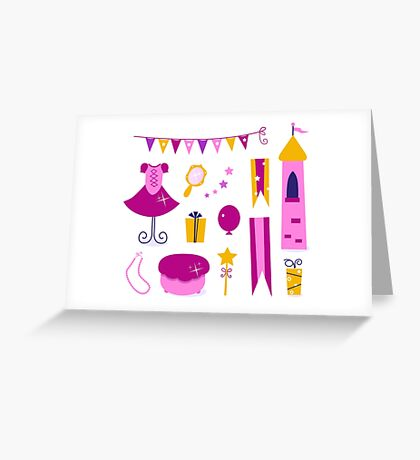 Collection of design elements for Princess Party Greeting Card