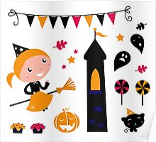 Cute little Halloween Witch with cat and lollipops Poster