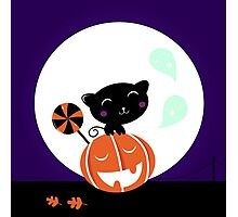 Cute stylish black cartoon Cat : new in shop Photographic Print