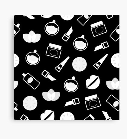 Retro Pattern with Cosmetics and wellness theme Canvas Print