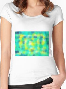 blue green and yellow painting abstract Women's Fitted Scoop T-Shirt