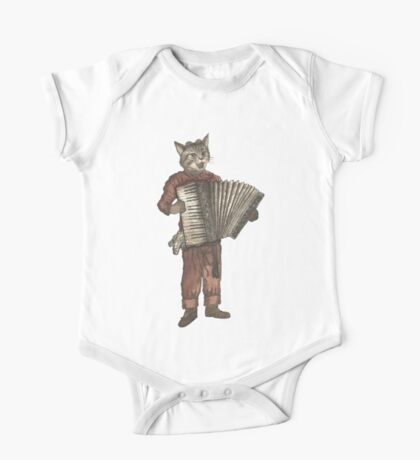 Accordion Cat with Goggles and Mask One Piece - Short Sleeve