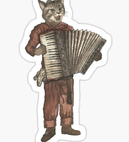 Accordion Cat with Goggles and Mask Sticker
