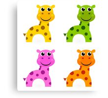 Four cute giraffes: Enjoy funky creatures! Canvas Print