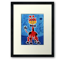Red giraffe Framed Print