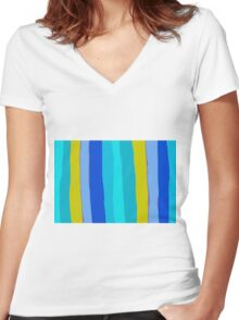 yellow blue and green painting abstract background Women's Fitted V-Neck T-Shirt