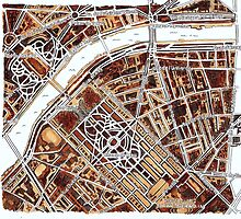 Paris Google satellite image in sepia  by Vicky Pratt