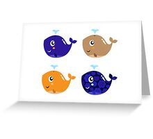 New whales creatures : blue and brown Greeting Card