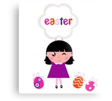 Girl with easter banner and eggs / purple Metal Print