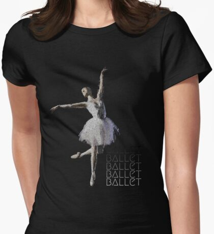 Watercolor Ballerina Sihouette Womens Fitted T-Shirt