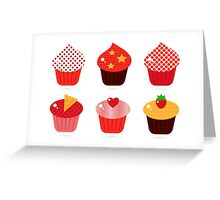 Cupcakes icons collection : Red and brown Greeting Card
