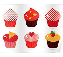 Cupcakes icons collection : Red and brown Poster